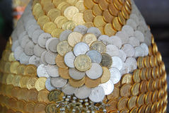 Coin background. Continuous coin with line surface background Royalty Free Stock Images