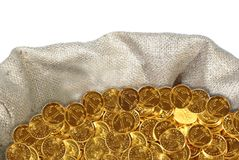 Coin in bag Stock Images
