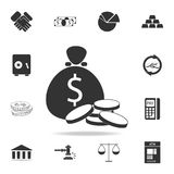 Coin Bag Icon. Detailed set of finance, banking and profit element icons. Premium quality graphic design. One of the collection ic. Ons for websites, web design Royalty Free Stock Photography