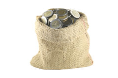 Coin in the bag. Royalty Free Stock Photo