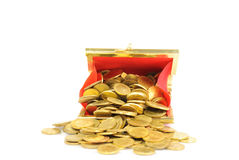 Coin Bag & Stacks of Gold Coins Stock Images
