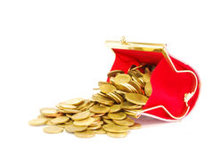 Coin Bag & Stacks of Gold Coins. Coin Bag & Stacks of Gold Coins  on white background Royalty Free Stock Photos