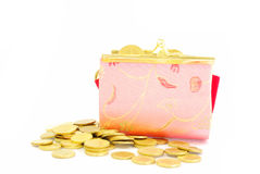 Coin Bag & Stacks of Gold Coins Royalty Free Stock Photos
