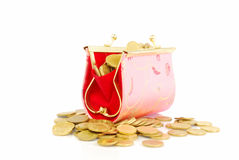 Coin Bag & Stacks of Gold Coins Royalty Free Stock Photo