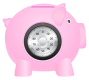 Coin bank and combination lock Royalty Free Stock Photo