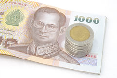 The Coin and bank note of Thailand Stock Photography