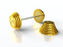 Coin barbell Royalty Free Stock Image