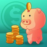 Coin is being put into the piggy bank. royalty free illustration