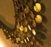 Coin belt. Close up of golden coin belt for belly dance Stock Images