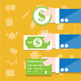 Coin , Bills and Credit card Royalty Free Stock Image
