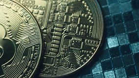 Coin Bitcoin on the blue background. Mining cryptocurrency. Ð¡oncept of blockchain technologies of virtual currencies stock video