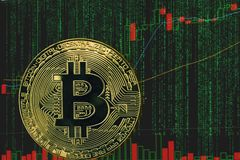 Token btc bitcoin cryptocurrency on the background of binary crypto matrix text and price chart. Coin bitcoin btc cryptocurrency on the background of binary royalty free stock images
