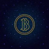 Coin bitcoin on a digital abstract background. Stock Photography
