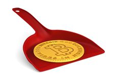 Coin bitcoin and dustpan on white background. Isolated 3D illust. Ration Stock Image