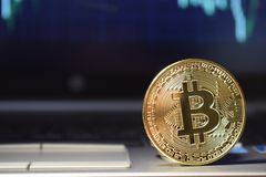 Bitcoin money on computer laptop, Monitoring the exchange rate and investment in bitcoins stock images