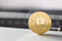 Coin bitcoin on the laptop keyboard. the concept of trading cryptocurrency. The rapid growth of the currency. Royalty Free Stock Images