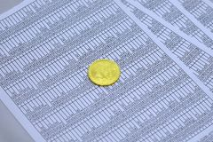 Coin bitcoin lies on sheets with numbers. Coin bitcoin lies on sheets with figures in tables. btc. bitcoin Stock Photography
