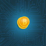 Coin bitcoin on the motherboard. Stock Images