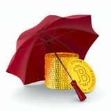 Coin bitcoin and umbrella on white background. Isolated 3D illus. Tration Stock Photos