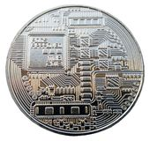 The Coin of Bitcoin on the white background. Royalty Free Stock Photography