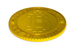 Coin bitcoin on white background. Isolated 3D illustration Stock Photography