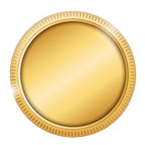 Coin. Blank space in a gold coin isolated on white Stock Photo