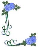 Coin bleu de roses d'invitation de mariage Photo libre de droits