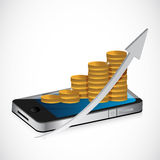 Coin business graph and mobile phone Stock Photo