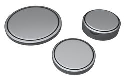 Coin or Button cell batteries. Isolated on white Royalty Free Stock Images