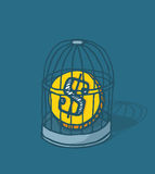 Coin caged or money locked in bird cage. Cartoon illustration of coin or money trapped in bird cage Royalty Free Stock Photography