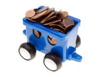 Coin car. Currency coin truck car - finance wealth growth royalty free stock images
