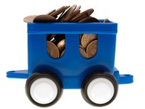 Coin car. Currency coin truck car - finance wealth growth royalty free stock photo