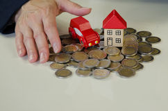Coin, car, house Royalty Free Stock Photo