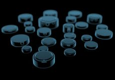 Coin Cell Batteries. (3D xray blue transparent Royalty Free Stock Photography