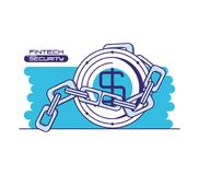 Coin and chain with financial technology security. Vector illustration design Stock Photos