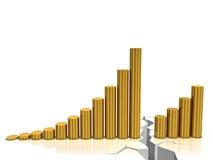 Coin chart. Gold coin graph with cracks. Financial crisis concept Stock Photos