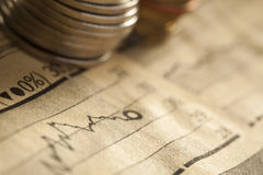 Coin and chart business concept Royalty Free Stock Images