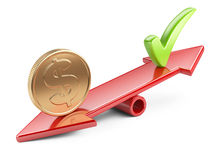Coin and check mark on seesaw. Money concept, coin and check mark on scale balance seesaw Stock Images