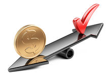 Coin and check mark on seesaw. Money concept, coin and check mark on scale balance seesaw Royalty Free Stock Images
