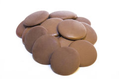 Coin Chocolate. A group of coin shaped couverture chocolate royalty free stock photos