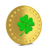 Coin with clover Stock Photo