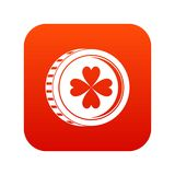 Coin with clover sign icon digital red Stock Image