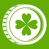 Coin with clover sign icon green Stock Photography