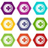 Coin with clover sign icon set color hexahedron Royalty Free Stock Photography