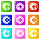 Coin with clover sign icons 9 set Stock Photos