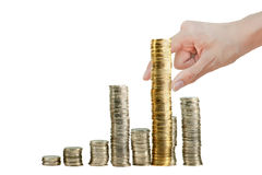 Coin Collect to graph by hand Royalty Free Stock Photos