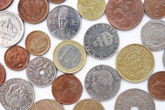 Coin collection with old coins Royalty Free Stock Photos
