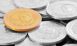 Coin in color and black and white Stock Image