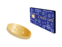 Coin and credit card - vector Royalty Free Stock Photos