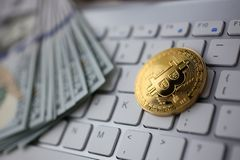 Coin crypto currency bitcoin lies on the keyboard. Background theme gold exchange pyramid for money due to rise or fall exchange rate closeup royalty free stock photo